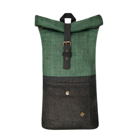 Roll Top Hemp Backpack Klassisch black/green