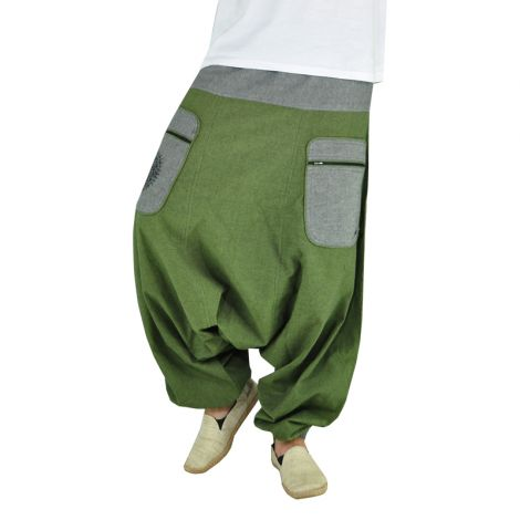 Hippie Pants Stampfgewand green